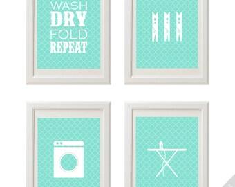 Laundry Prints, Laundry Room Wall Art 4 PRINTABLE, Printable Laundry Wall Art, Wall Art for Laundry Room, Cute Laundry Room Art