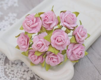 20pcs of Sweet Pink Mini Rose made from Mulberry Paper for DIY Scrapbooking Cards & other Decorations