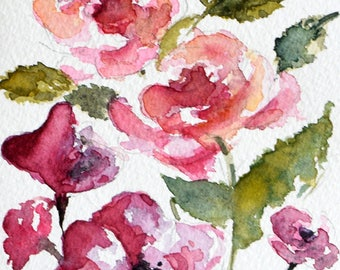 Original Watercolor Painting, Handpainted Greeting Card, Pink Red Roses, Floral Painting, Mothers-day Card 4x6 inch