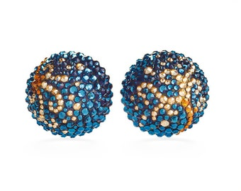 Aurora Bloom Elegant Button Earrings Encrusted With Swarovski Crystals