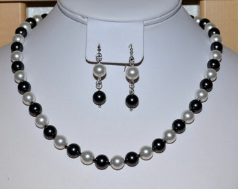 Hand-Knotted 8mm Swarovski Pearl Necklace in Black and White on Silk Thread - SW8