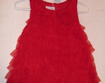 Baby Girls 12-18M Holiday Dress, Infant Girls Red Christmas Dress, Baby Soft Ruffle Dress, Red Christmas Dress, In Stock Ready to Ship A16