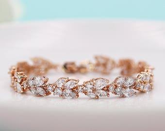 Wedding Bracelet Rose Gold, Bridal Bracelet, cz bracelet, cubic zirconia bracelet, rose gold bridal jewelry, Camilla Rose Gold Bracelet
