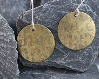 Brass Etched Earrings (082017-033)