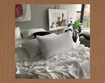 Khaki Pair of Linen Pillowcases - Minimalist Bedding - Made to Order in the USA