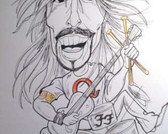 Dave Grohl Rock Caricature Rock Portrait Music Art by Leslie Mehl Art