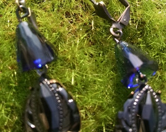 Blue and black sparkle earrings