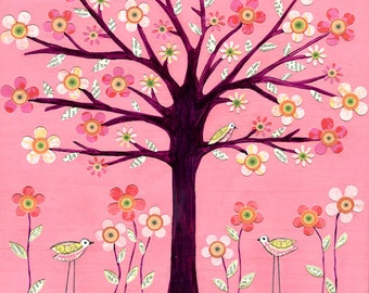 Nursery Art Print - Children Decor-Large Pink Bird Tree Art Print - Baby Nursery Decor - Children Room Decor