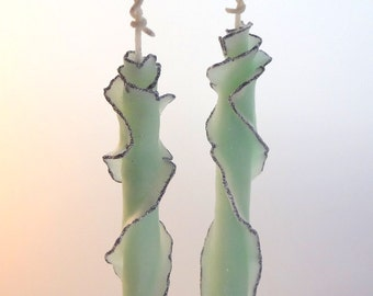 Green & Silver Glitter Taper Candle Set, Decorative Taper Candles, Fancy Taper Candle Gift, Unique Beeswax Candles, Elegant Home Decor