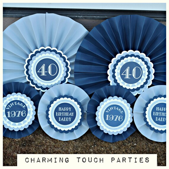 40TH BIRTHDAY PARTY decorations Decorative Rosettespaper
