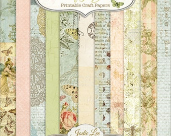 Butterfly Garden 12 Printable Scrapbook Papers Set by Jodie Lee ... Instant Download and Print