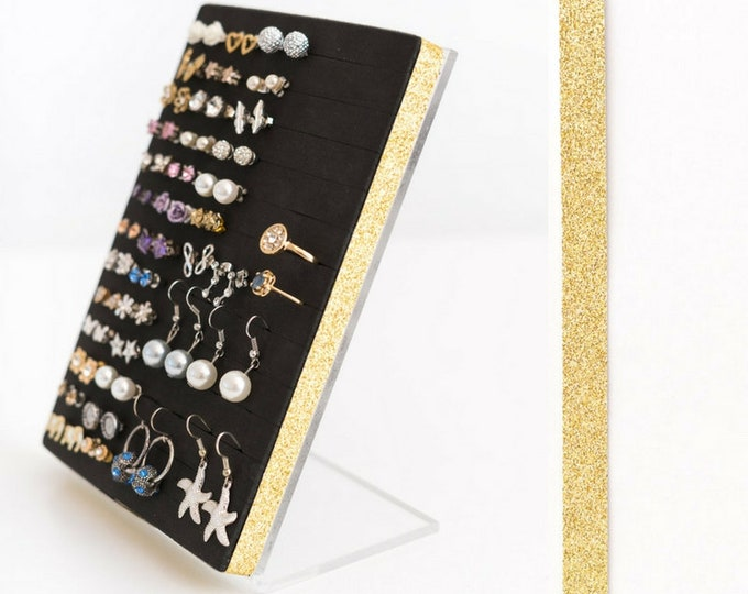 Post Earring Holder - Gold Glitter Ribbon - Earring Organizer