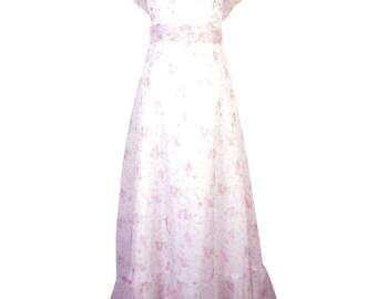vtg 70s Tiny Pink Floral Ruffle Maxi Dress Chiffon Mermaid Fishtail bust 32