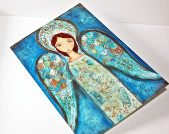 Angel Azul - Greeting Card 5 x 7 inches - Folk Art By FLOR LARIOS
