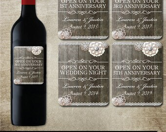 Rustic Wedding wine bottle labels Printed Customizable wine bottle labels for wedding anniversary!  - Rustic frame and country background