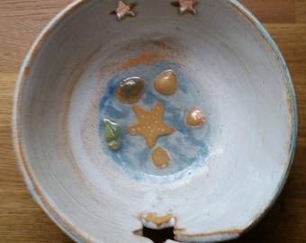 Ceramic coastal inspired yarn bowl