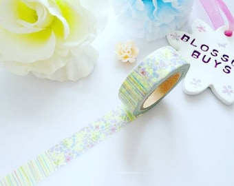 Floral Lines Washi Tape - Flowers - Leaves - Stationery - Masking - Deco Tape