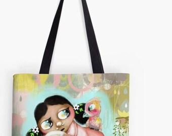 Hand bag - Whimsical Portrait - Bag - Fabric Handbag - Tote Bag - HyssopArts - Artwork Designed by Beatrice Ajayi