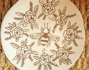 Bee Plate,  Dessert Plate, Pottery Plate, Stoneware plate