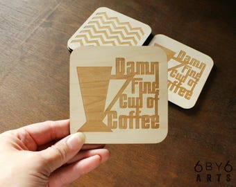 Damn Fine Cup of Coffee Coasters Set of Four | Gifts for Coffee Lovers | Twin Peaks Quote | Wood Coasters | Drink Coasters