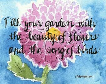 Watercolor notecards, Fill your garden with the beauty of flowers ... - No. 1752  Fill your garden