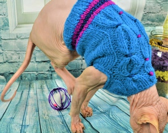 FREE shipping, Mohair sweater, Light blue,  Sphynx Cat Clothes, clothes for cat, cat sweater, sphynx clothes, handmade, clorful