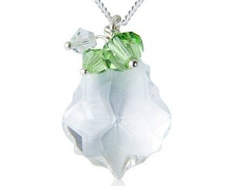 Baroque Swarovski Crystal Cluster Necklace - Clear & Green