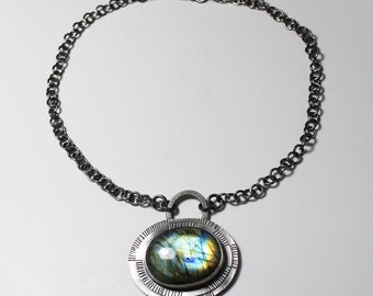 RESERVE for Susan Nelson payment 5 Aqua Labradorite Medallion Guardian Face Protective Pendant in sterling silver patina open front hook