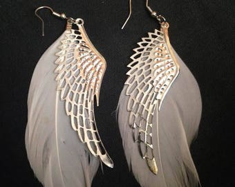 Wings and feather earrings