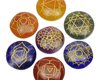 Set Of 7 Multistone Chakra Symbol Gemstone, Feng Shui Spiritual Reiki Healing Crystal Table Decor, With Gift Pouch HCD2031A
