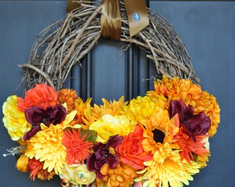 Autumn Wreath-Fall Wreath-Thanksgiving Wreath-Feather Wreath-Autumn Decor-Fall Door Wreath-Autumn Door Wreath-Fall Decoration-Autumn Season