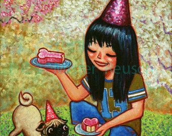 Pug Birthday Cake Original Painting by Mister Reusch