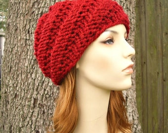 Knit Hat Red Womens Hat - Swirl Beanie in Metallic Poinsettia Red Knit Hat - Red Hat Red Beanie Womens Accessories - READY TO SHIP