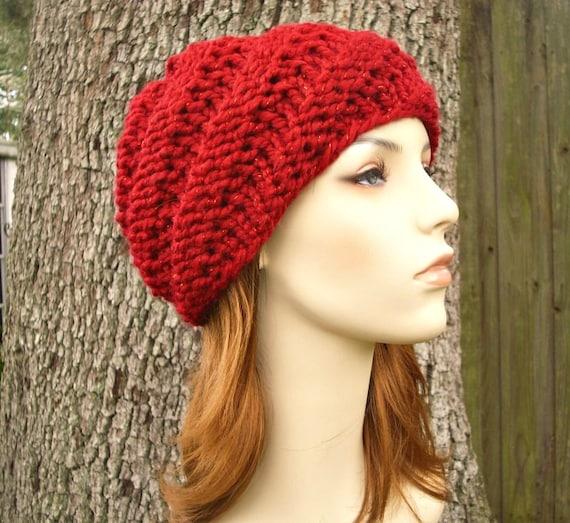 80b5f4d1b93 Knit Hat Red Womens Hat Swirl Beanie in Metallic Poinsettia