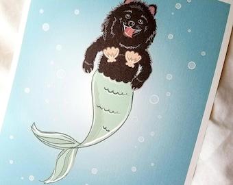 Black Pomeranian Mermaid - Bikini Shell Top - Eco-Friendly 8x10 Print