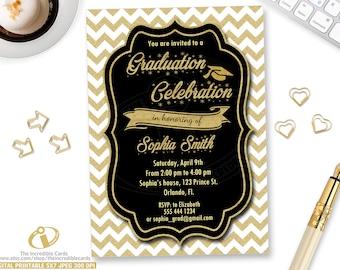 GRADUATION PARTY Invitation, Graduation Invitation, Printable Graduation Invite, Black White & Gold Glitter Grad Class Of Invitations,