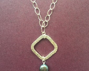Hammered Sterling Silver & Freshwater pearl necklace