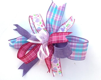 Spring Plaid bow for wreaths, Easter basket bow, lantern bows, holiday bows, wedding bows, spring holiday decor