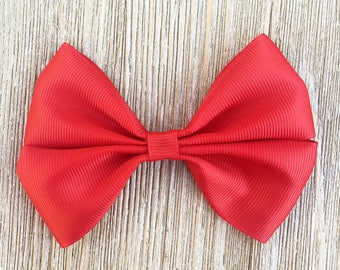 Red Stacked Grosgrain Ribbon Hairbow for Girls Back to school everyday wear on Barrette , clip or headband