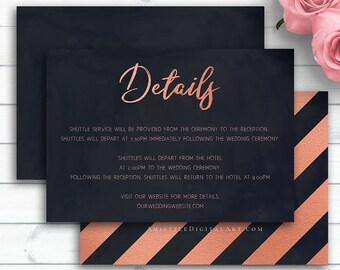 Roes Gold Wedding Insert Card, Details Card, Details Template, Navy Blue Wedding Info Card, Printable Details, Details Card Template, Card