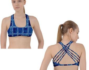 Sports Bra, Workout, Custom Sports Bra, Inspirational, Bralette, Yoga Fitness Bra, Yoga Cross Racer Back Sports Bra, Blue Gold Sports Bra