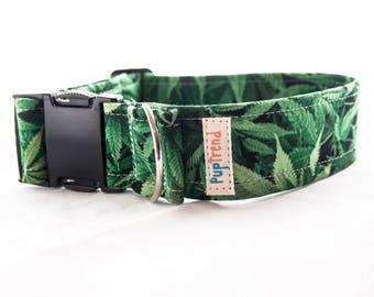 Marijuana Leaf Dog Collar//Weed Dog Collar//Cannabis Dog Collar//Pot Leaf Dog Collar//Weed Leaf Dog Collar//Gift for Pot Head//