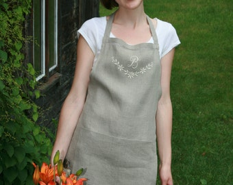 Linen Full Apron/ Linen Organic Apron/ Apron Handembroidered / Monogrammed Apron/  Personalized Apron with Drawnwork