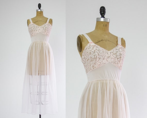 1950s lingerie | vintage sheer pink lace nightgown