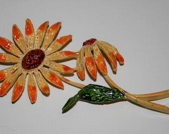 Vintage Sunflower Cast Metal Brooch