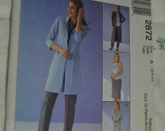 McCalls 2872 Misses / Miss Petite Unlined Jacket in Two Lengths Top Pants Skirt and Belt Sewing Pattern - UNCUT - Size 6 8 10