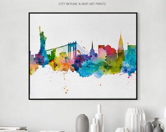 New York City poster, New York City art print, New York City skyline watercolour print, NYC wall art, travel poster, art gift, iPrintPoster