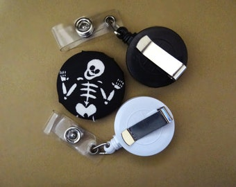 Retractable Badge Holder - Fabric Covered Button - Dancing Skeleton