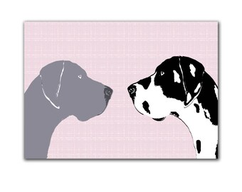 Arlequin Dogue et bleu Dane chiens - Fine art print, chien estampes, deux chiens, décor de chiens, silhouette noir