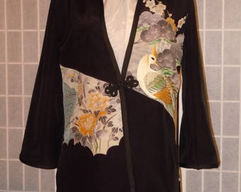 """Silk jacket / duster from Japanese kimono. """"Pheasant and flowers"""" Special occasion jacket Black. Size Small. #L69"""